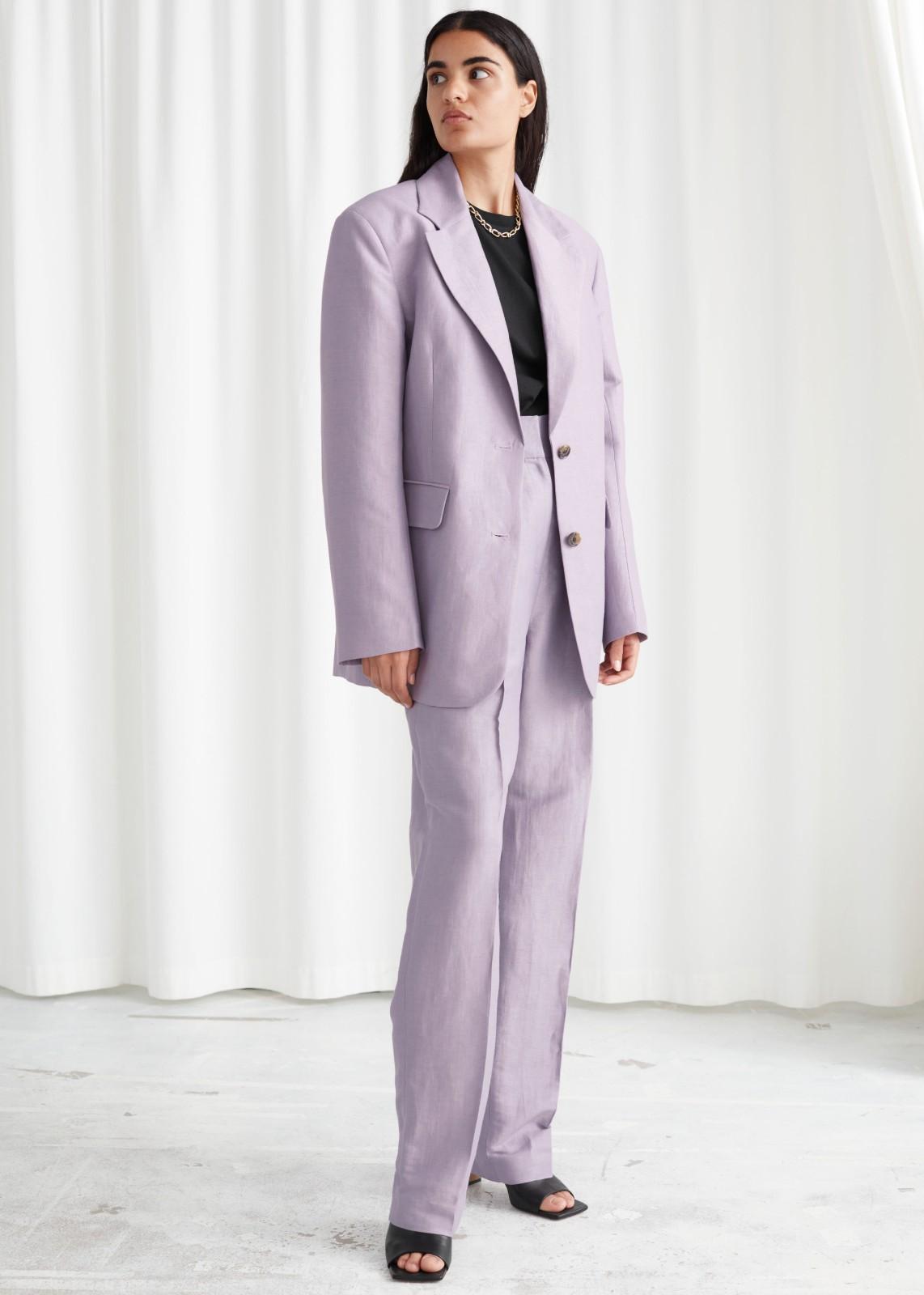 紫色廓形西装