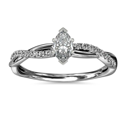 14k白金小巧扭纹钻石订婚戒指