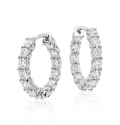 钻石圈形耳环