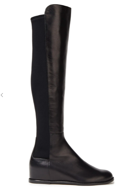 Leather and neoprene over-the-knee boots