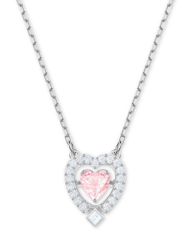 银色水晶3D笼心形吊坠项链
