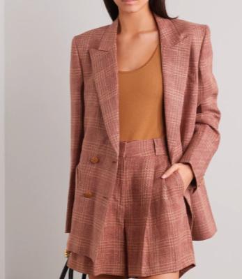 BLAZÉ MILANO Bella Donna Everynight 双排扣格纹亚麻羊毛混纺西装外套