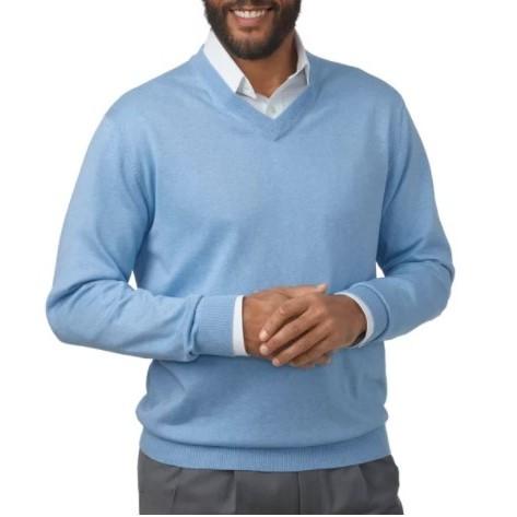 真丝,棉质和羊绒V领套头毛衣