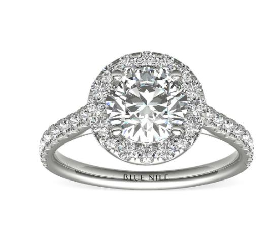 14k 白金圆形光环钻石订婚戒指