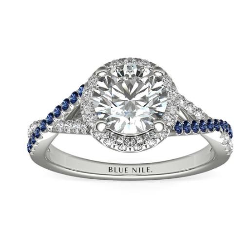 14k 白金蓝宝石光环与钻石光环扭纹订婚戒指