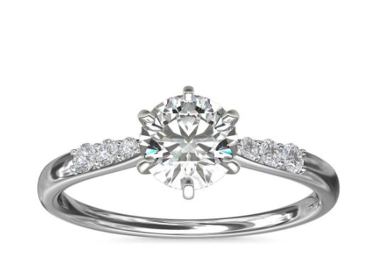 14k 白金六爪小巧密钉钻石订婚戒指