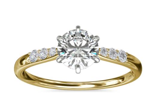 14k 金六爪小巧密钉钻石订婚戒指