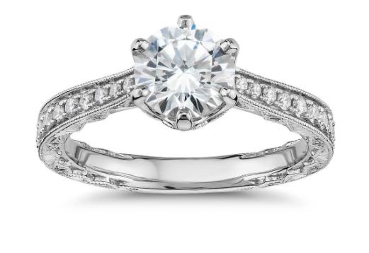 14k 白金六镶爪手工雕刻钻石订婚戒指