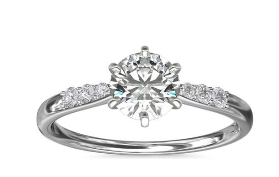 白金六爪小巧密钉钻石订婚戒指
