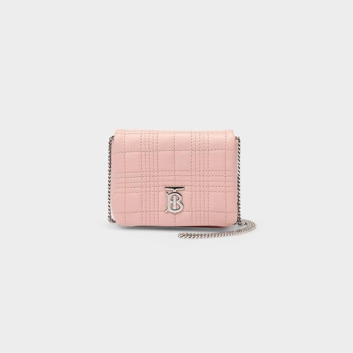 粉色绗缝皮革链条包