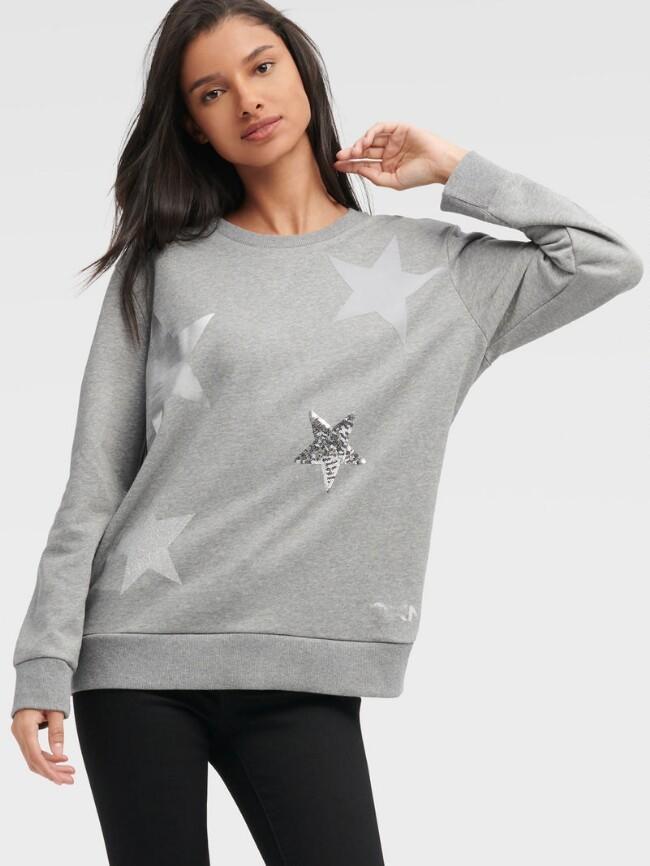 灰色星星印花毛衣