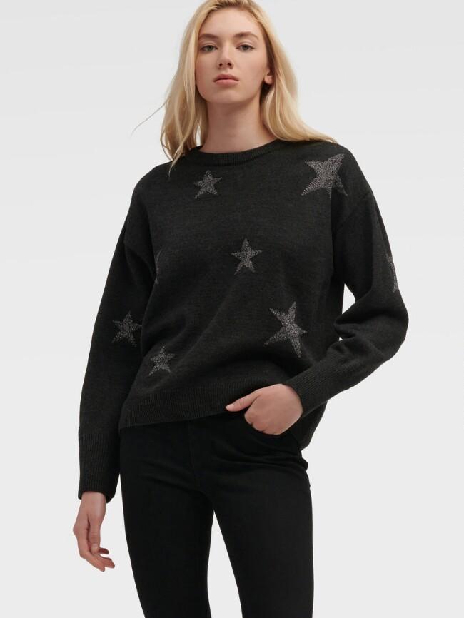 黑色星星印花毛衣