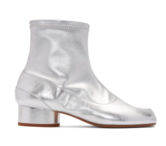 银色Tabi德比分趾靴