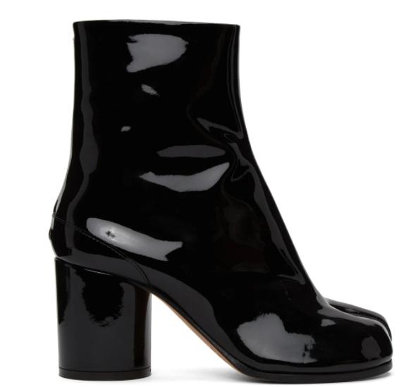 黑色Tabi德比分趾靴