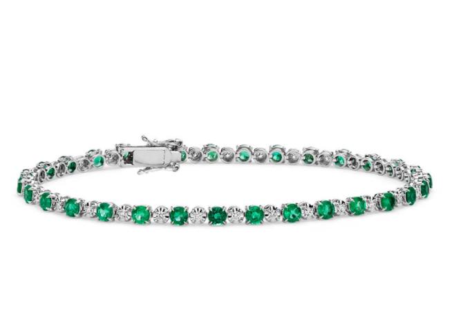 祖母绿和钻石大小交错手链