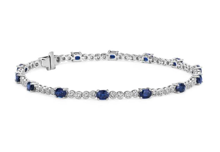 椭圆形蓝宝石钻石手链