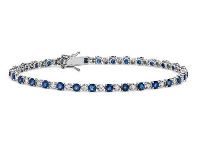 蓝宝石和钻石大小交错手链