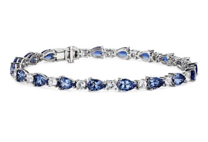 坦桑石和白色蓝宝石手链