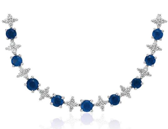 蓝宝石和钻石渐变式永恒项链