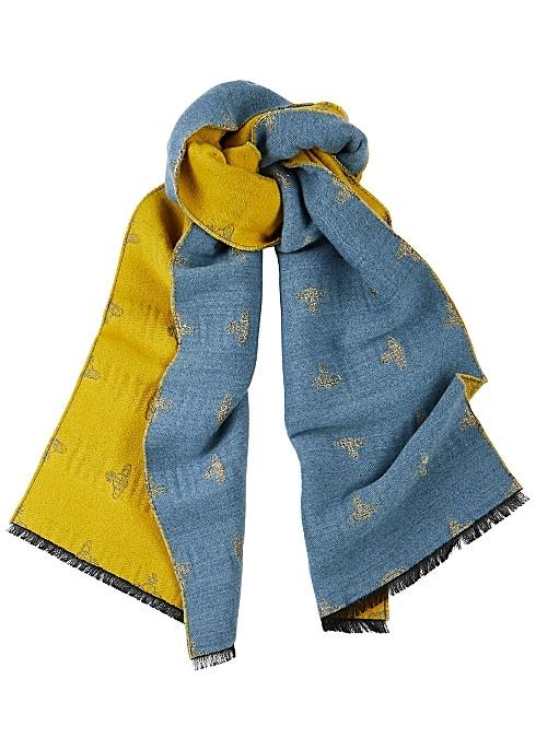 VIVIENNE WESTWOOD 双面 拼色羊毛围巾