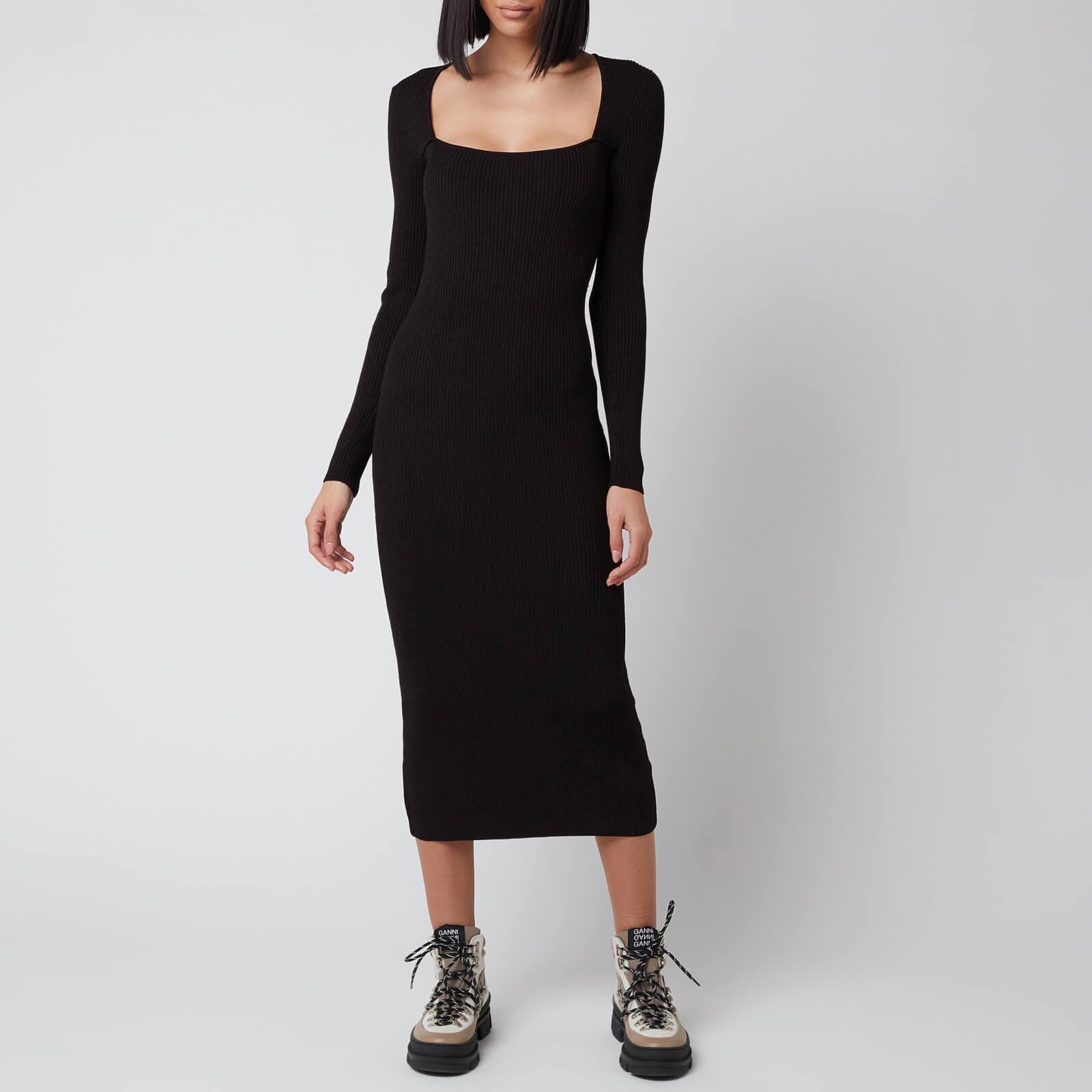 Ganni 方领连衣裙