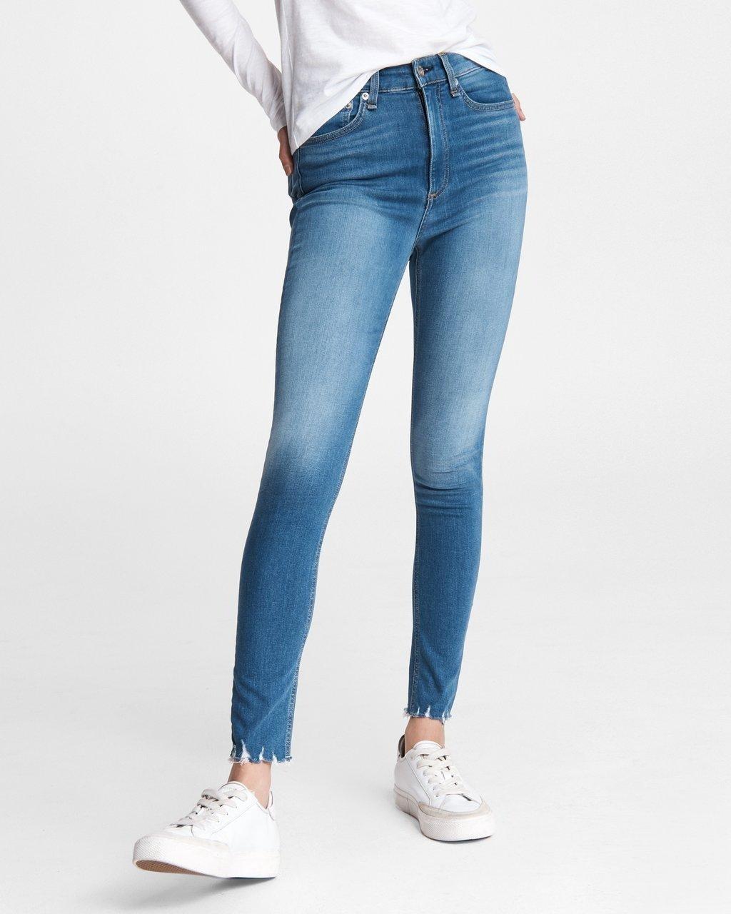 高腰修身牛仔裤