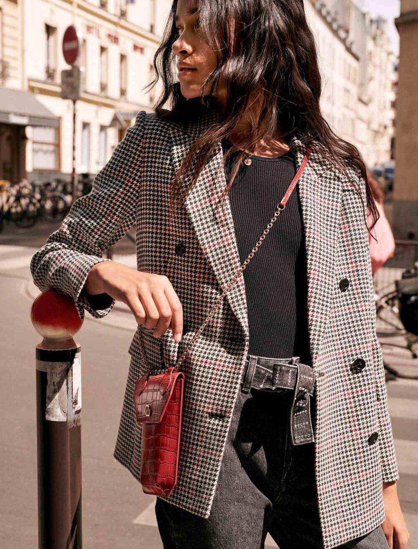 双排扣格子夹克