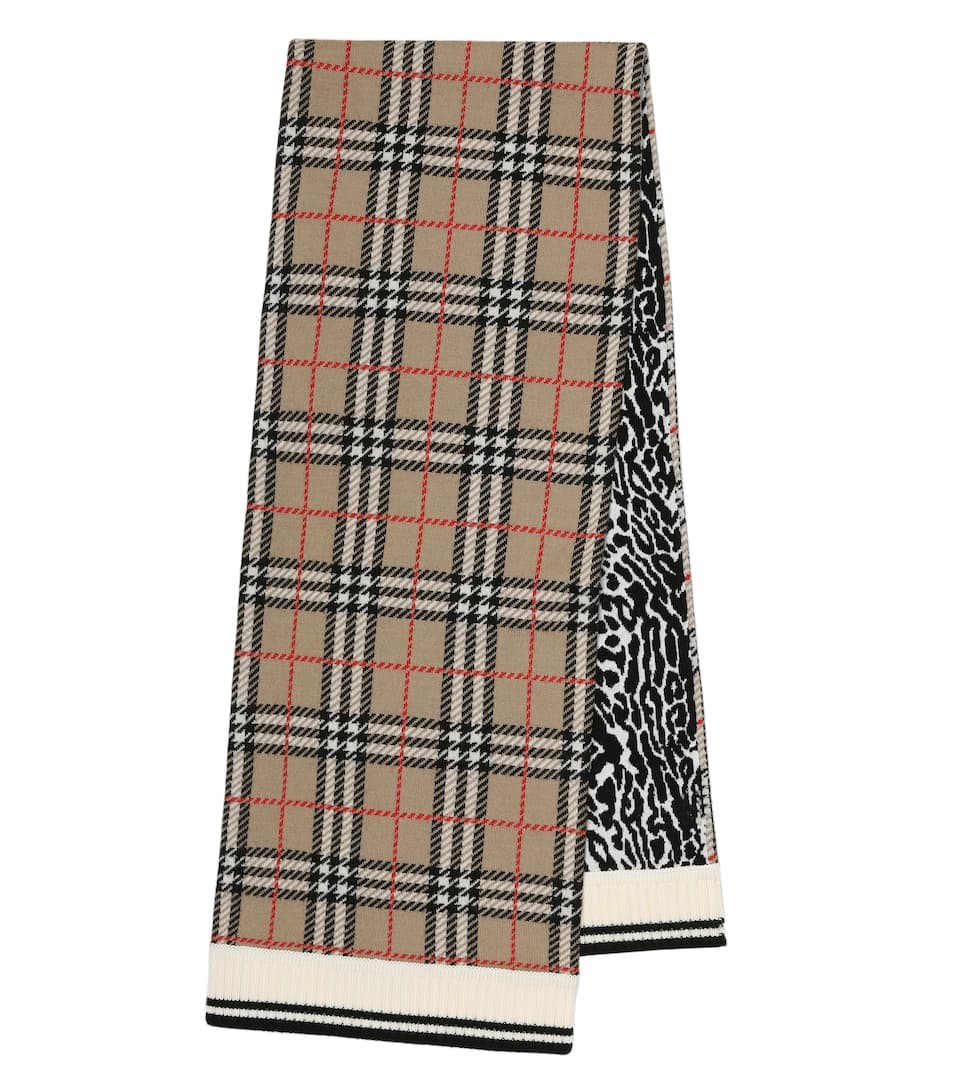 BURBERRY 格纹和豹纹围巾