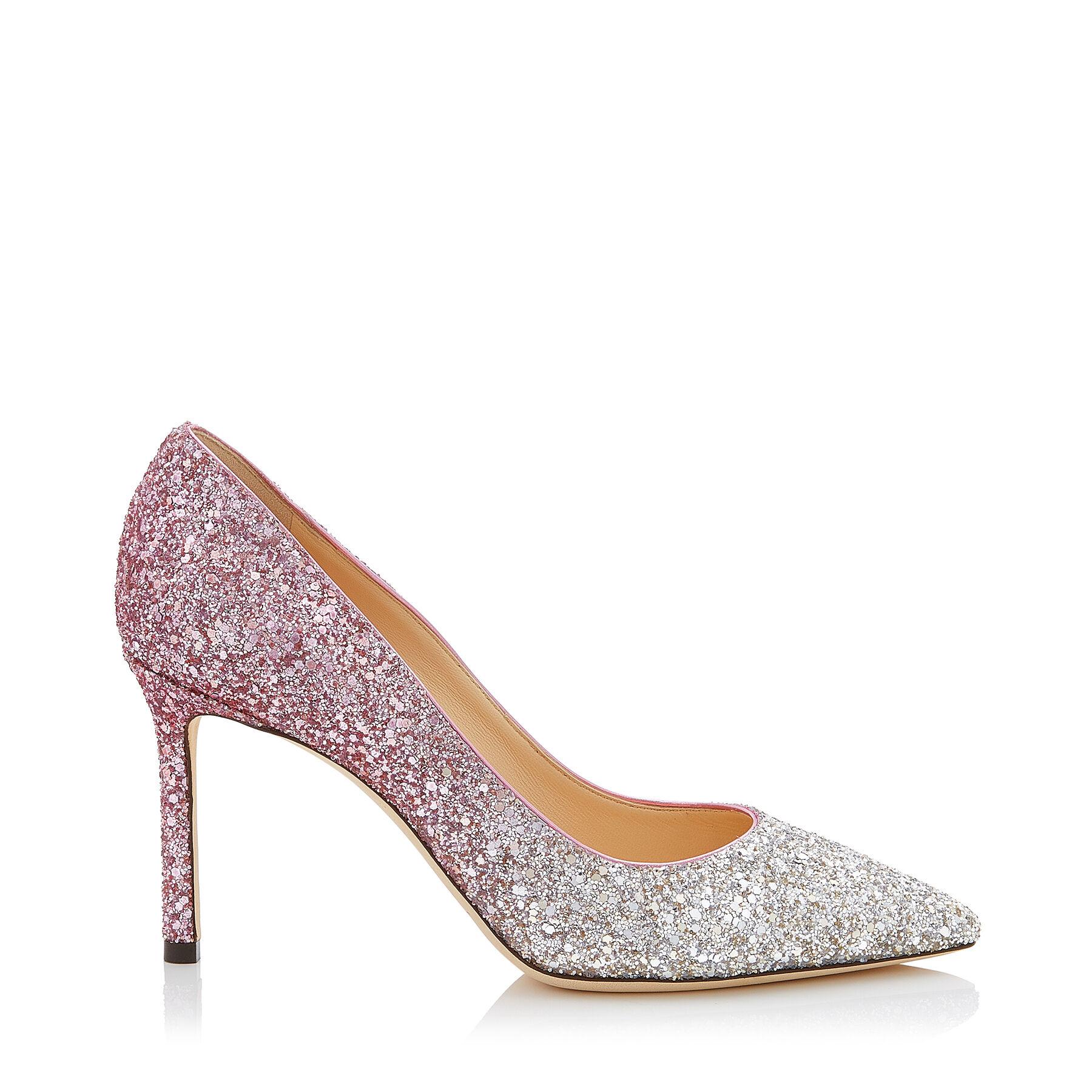 ROMY 85 粉色渐变亮片高跟鞋