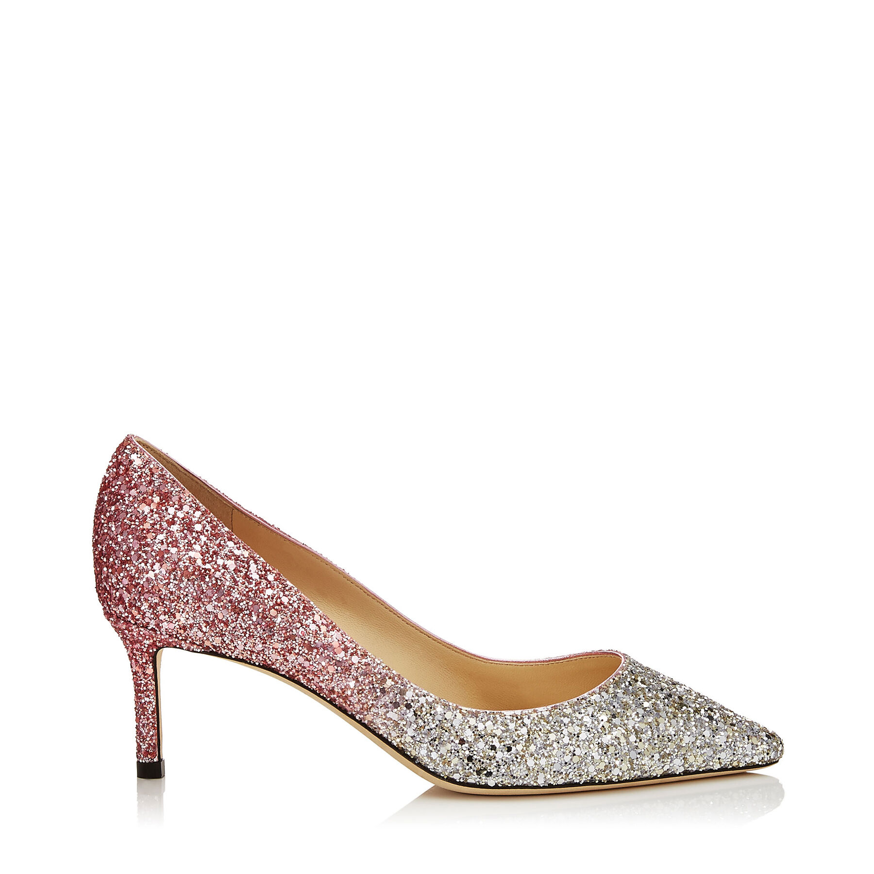 ROMY 60 粉色渐变亮片高跟鞋