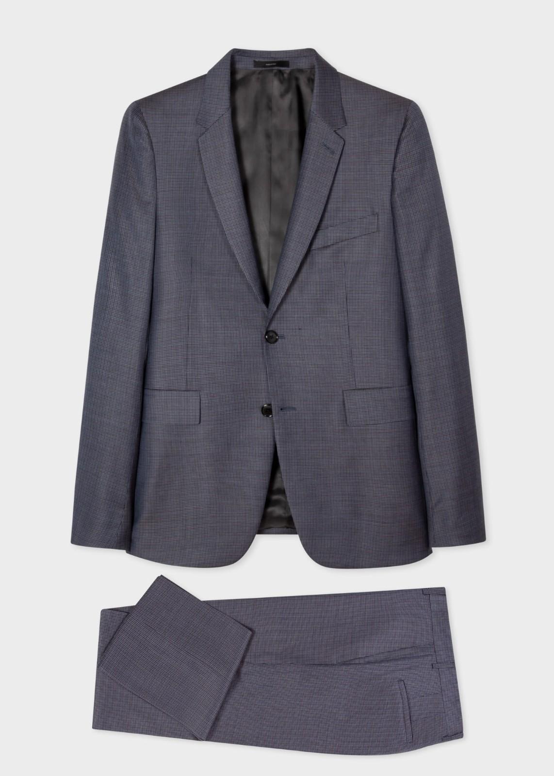 羊毛暗格纹西服套装