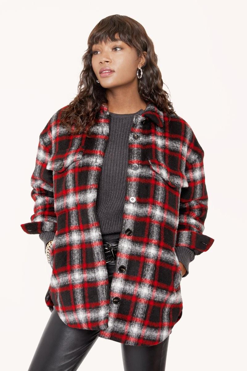 格纹衬衫夹克外套