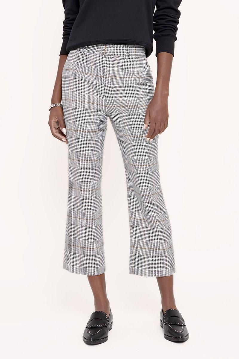 格纹喇叭裤