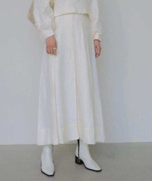 压褶荷叶摆半身长裙