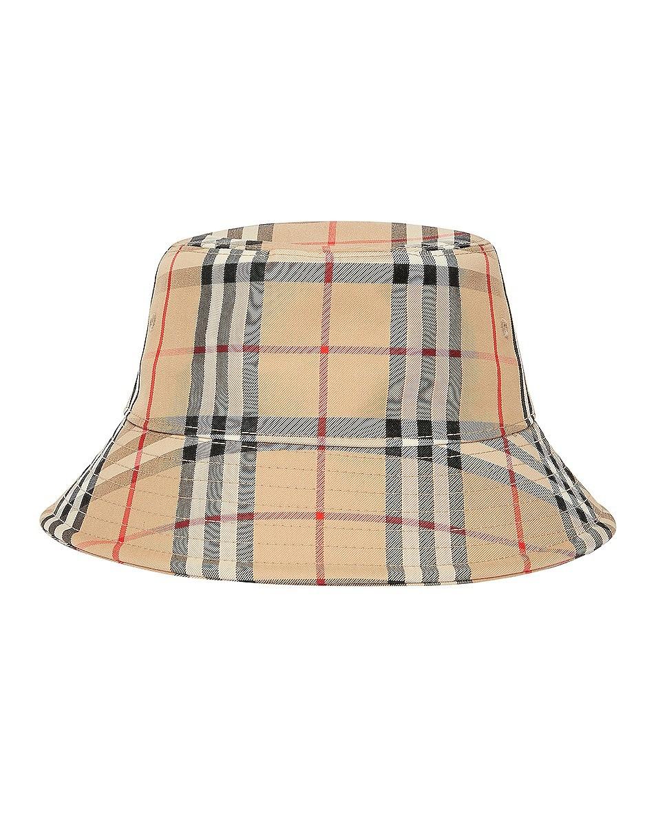 格纹水桶帽