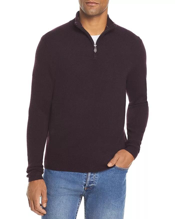 拉链半高领羊绒衫