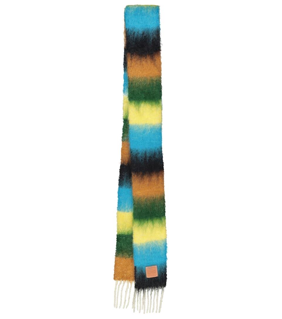 LOEWE 条纹马海毛混纺围巾