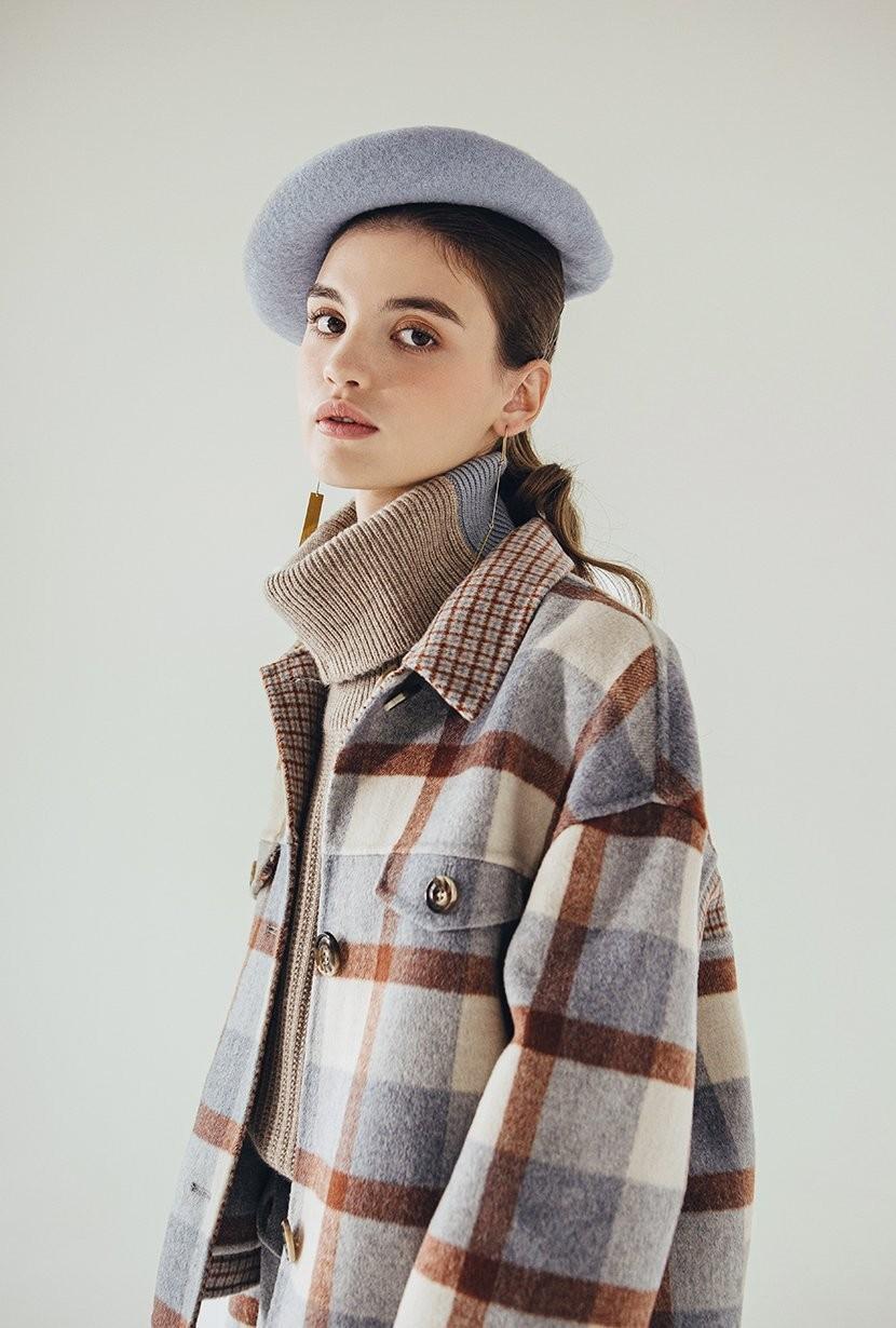 羊毛格纹大衣