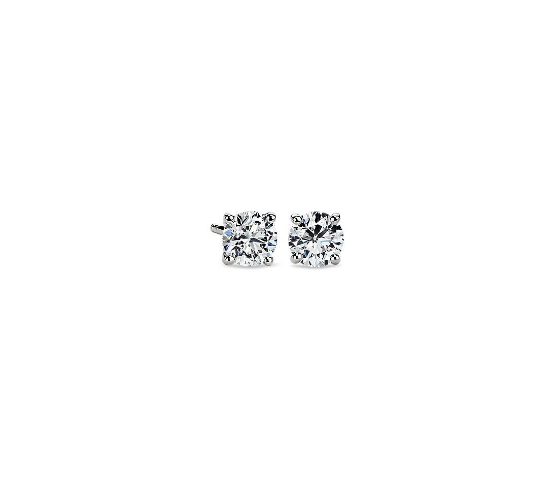 14k白金 钻石耳钉