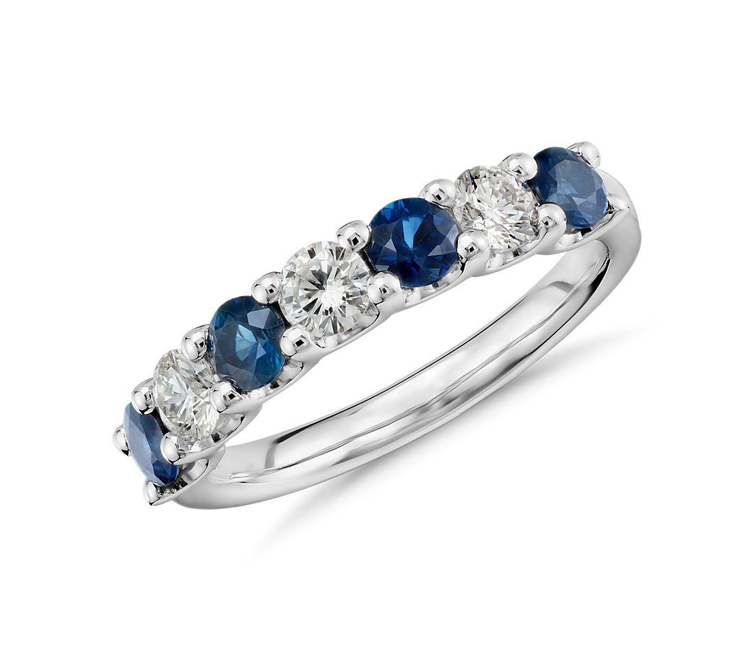 铂金蓝宝石钻石戒指