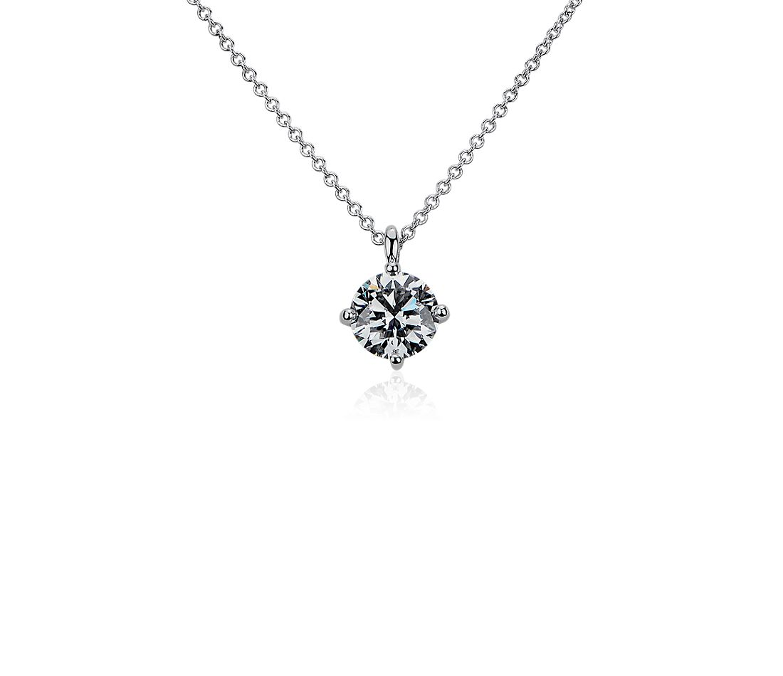 钻石圆形单石吊坠项链
