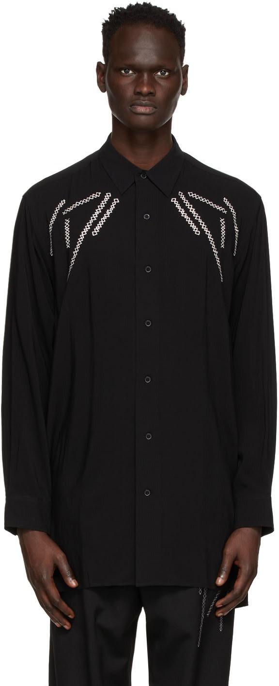 黑色长袖翻领衬衫