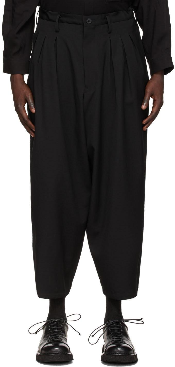 黑色中腰阔腿长裤