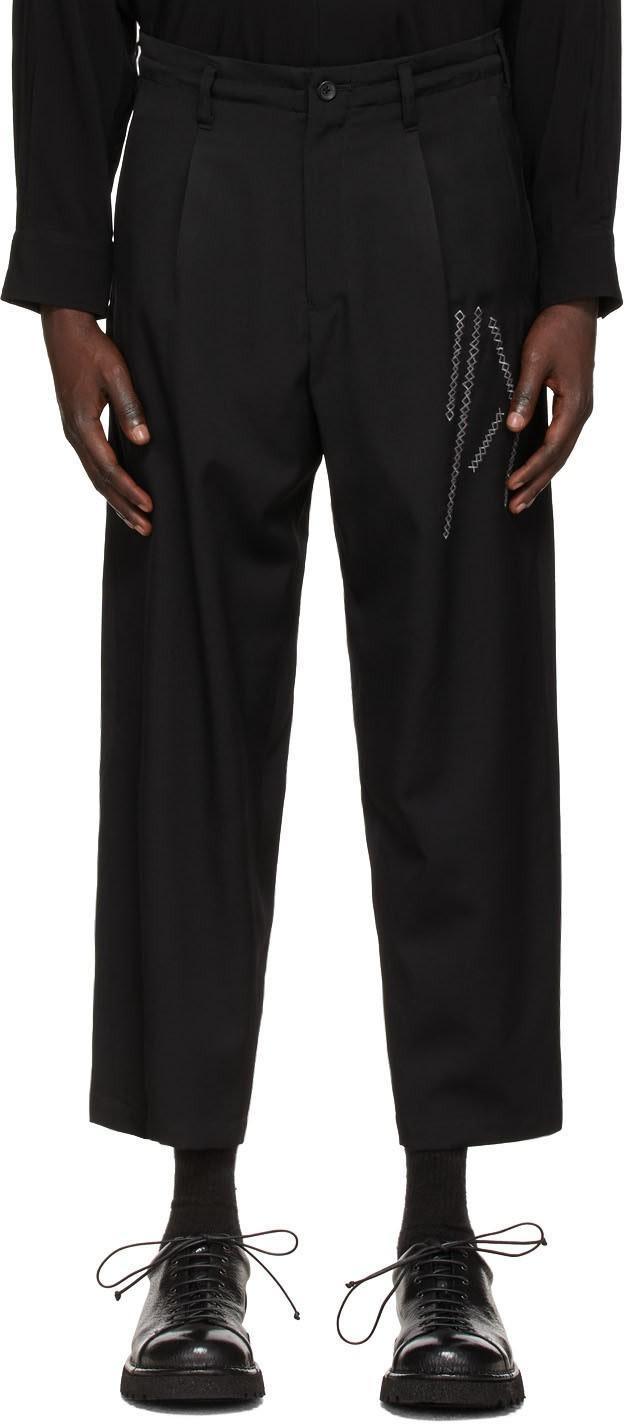 黑色中腰直筒长裤
