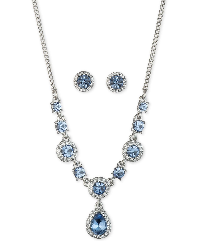 银色水晶扣耳环、项链