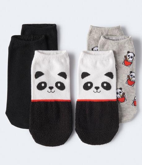 毛绒熊猫踝袜3件装