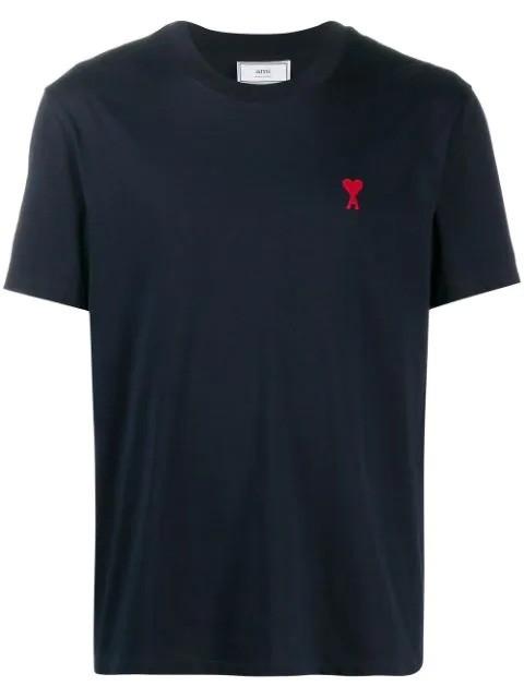 心形刺绣T恤 海军蓝