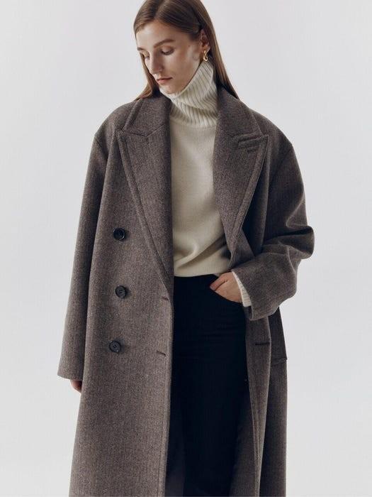 束带双羊毛外套