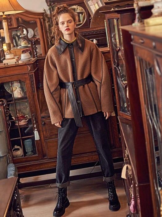 皮革领羊毛半大衣