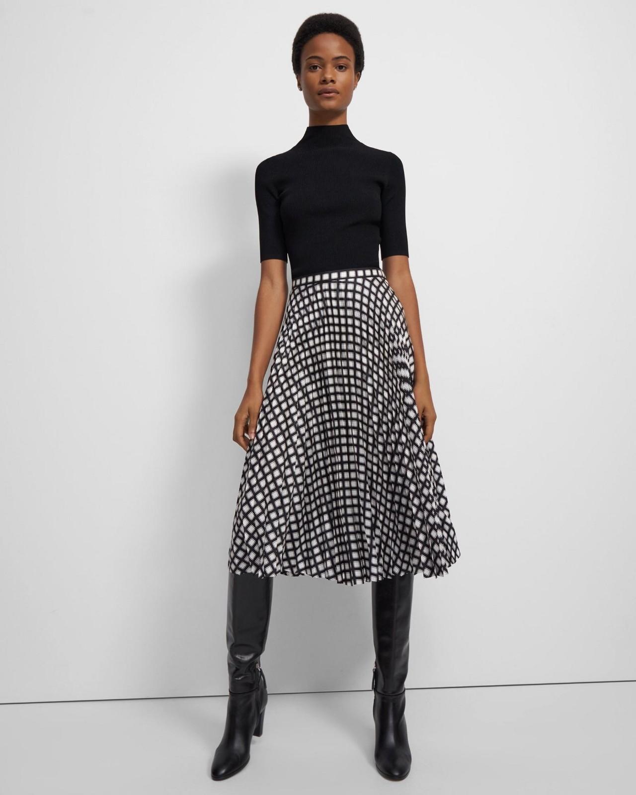 格子斜纹百褶裙